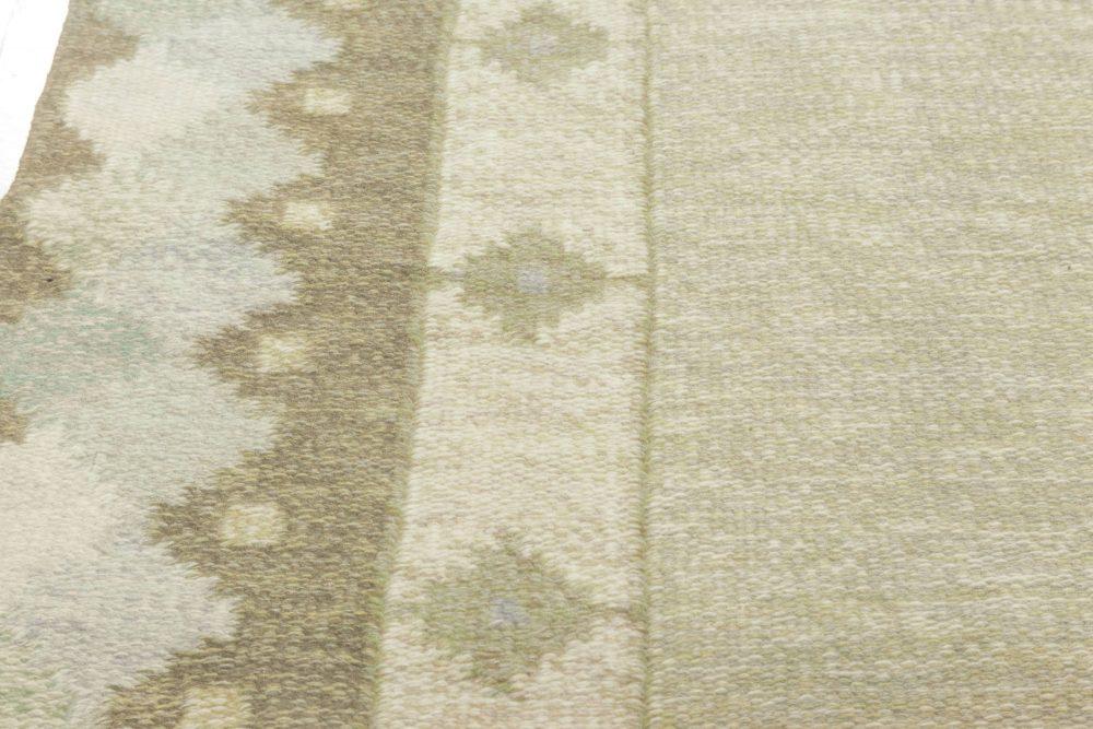 Midcentury Swedish Pastel Greens Flat-Weave Wool Rug BB6888