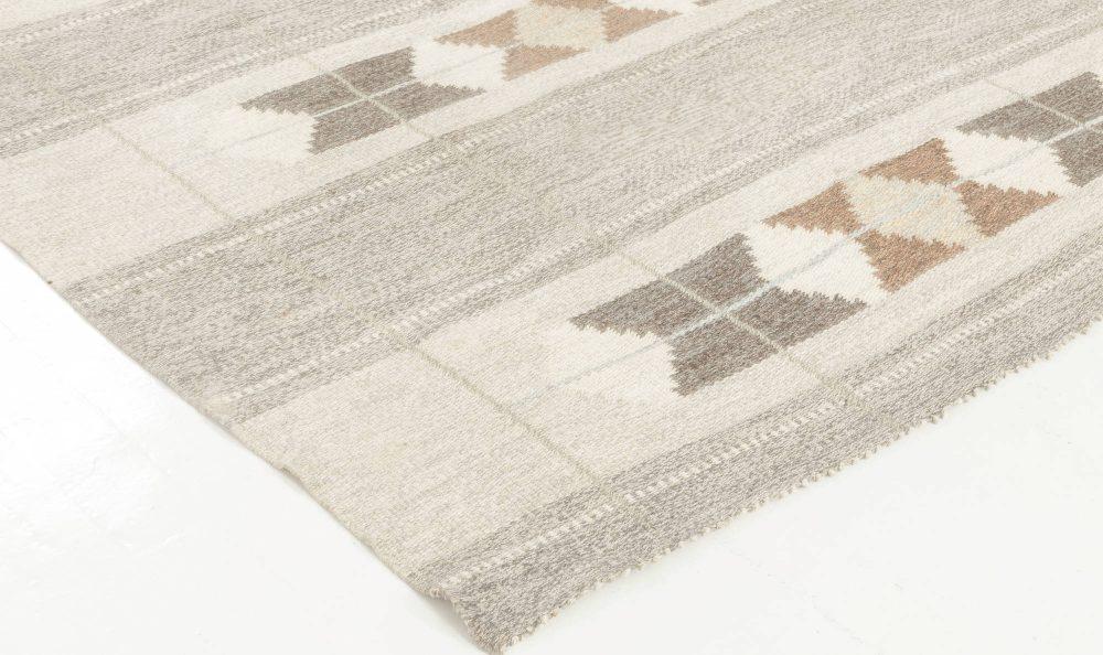 Mid-Century Swedish Handmade Wool Rug in Neutral Colors BB6882