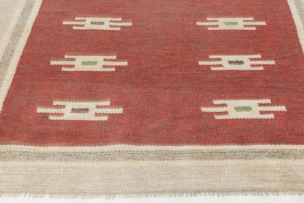 Midcentury Swedish Deep Burgundy and Beige Flat-Weave Wool Rug BB6887