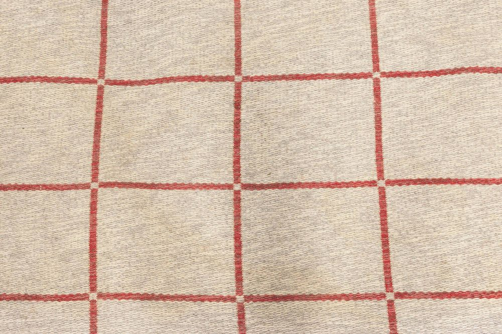 Midcentury Swedish Carmine and Off-white Flat-Weave Wool Rug BB6883