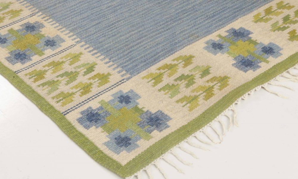 Vintage Swedish Flat Weave Rug  by Berit Woelfer BB6871