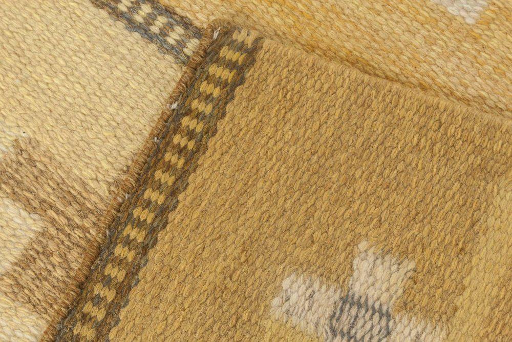 Midcentury Swedish Flat-Weave Wool Rug Signed by Ingegerd Silow BB6872