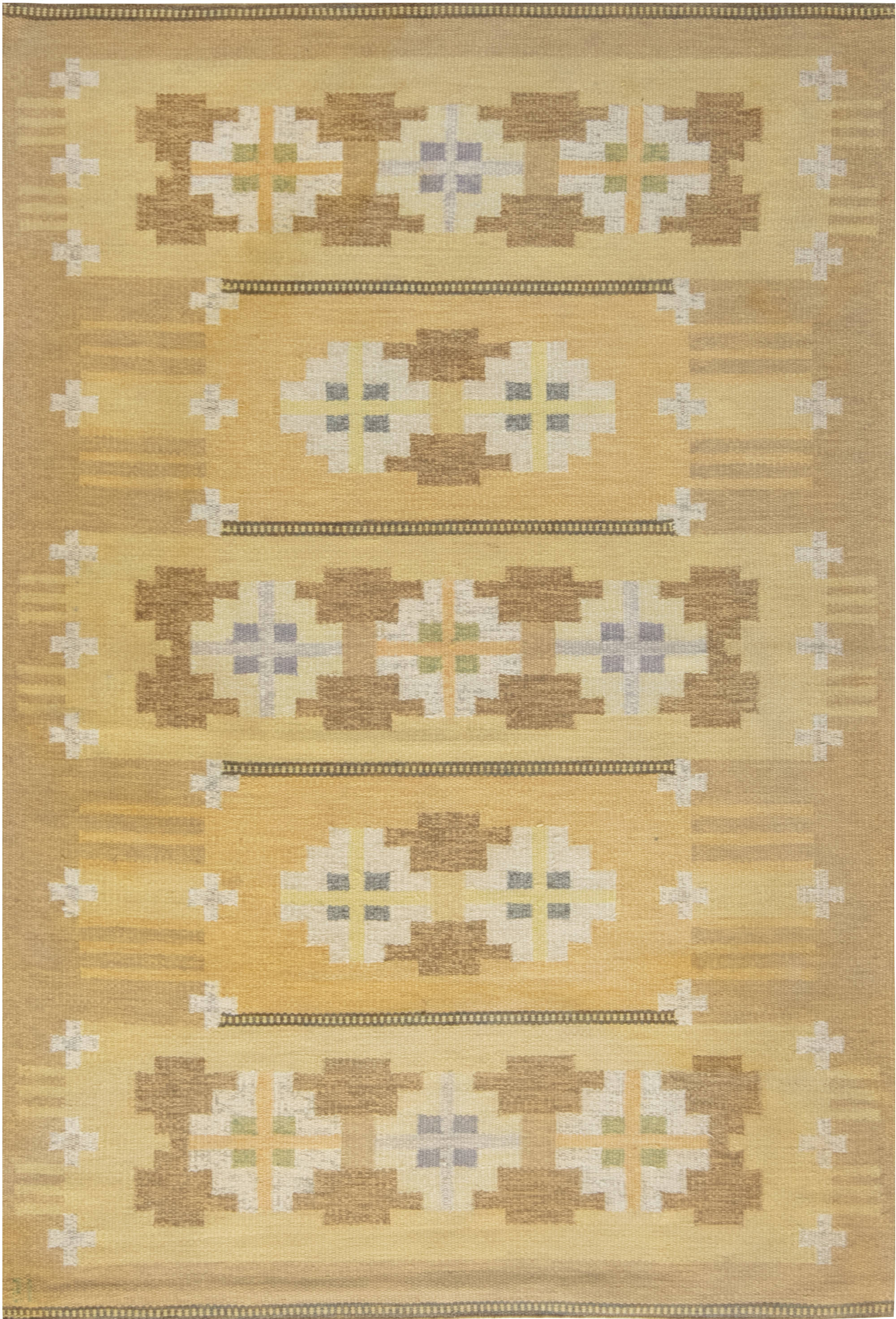 VINTAGE SWEDISH FLAT WEAVE RUG SIGNED BY INGEGERD SILOW BB6872