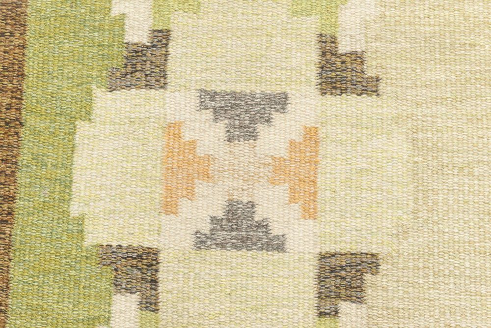 Swedish Green and Beige Flat-Weave Wool Rug Signed by Ingegerd Silow BB6885