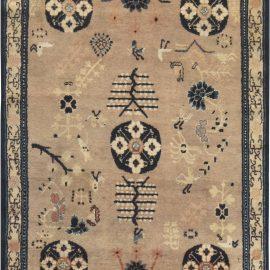 Midcentury Samarkand Navy Blue and Blue Handwoven Wool Carpet BB6628
