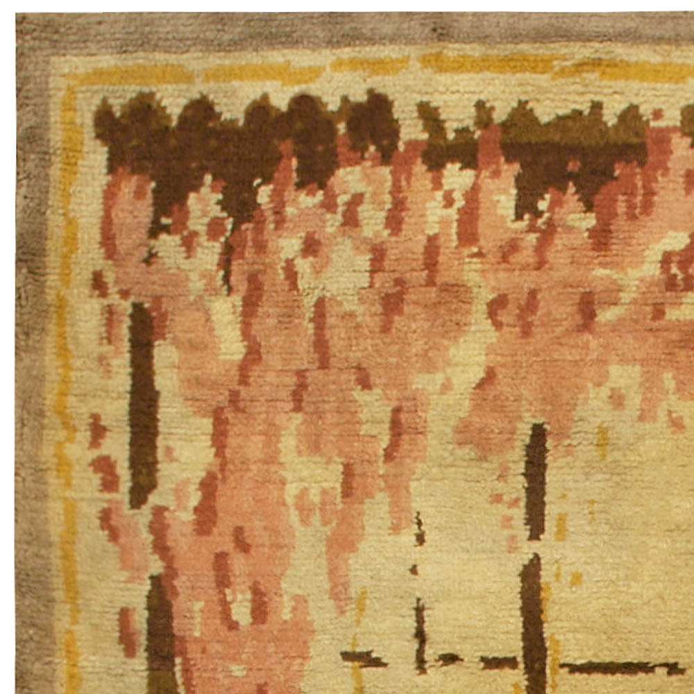 Art Deco Amber, Chocolate, Coral and Red Handwoven Wool Rug BB6789