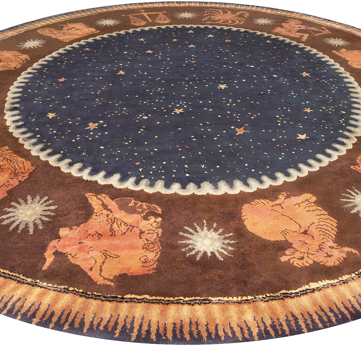 French Art Deco Circle Rug by Paul Follot BB6783