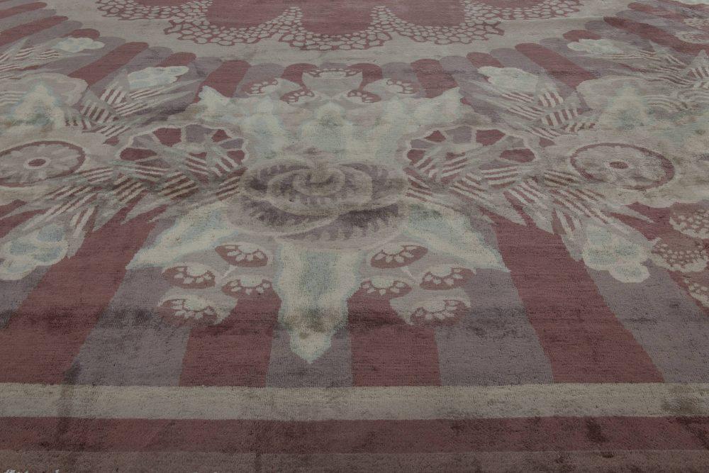 Large Vintage Indian Art Deco Handwoven Wool Rug BB6758
