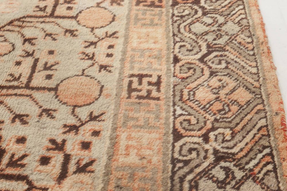 Samarkand Salmon, Off-White, Gray & Brown Hand Knotted Wool Rug BB6907