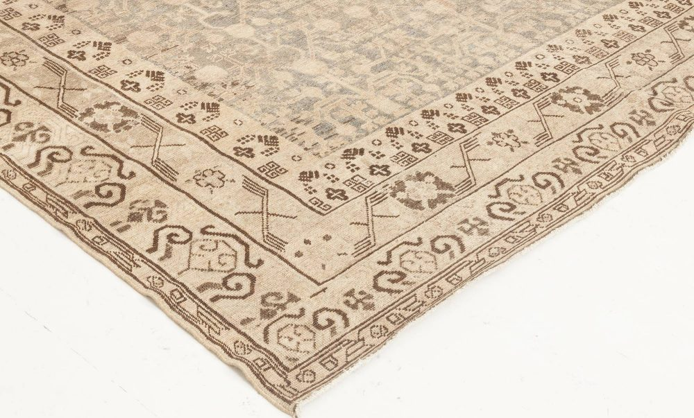 Samarkand Gray, Blue, Beige & Brown Hand Knotted Wool Rug BB6651