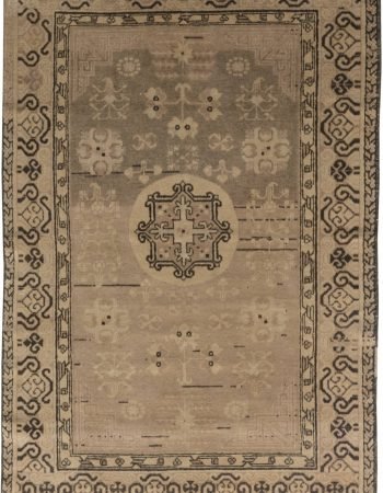 Spanish Midcentury Beige, Turquoise and Dusty Pink Hand Knotted Rug BB7059