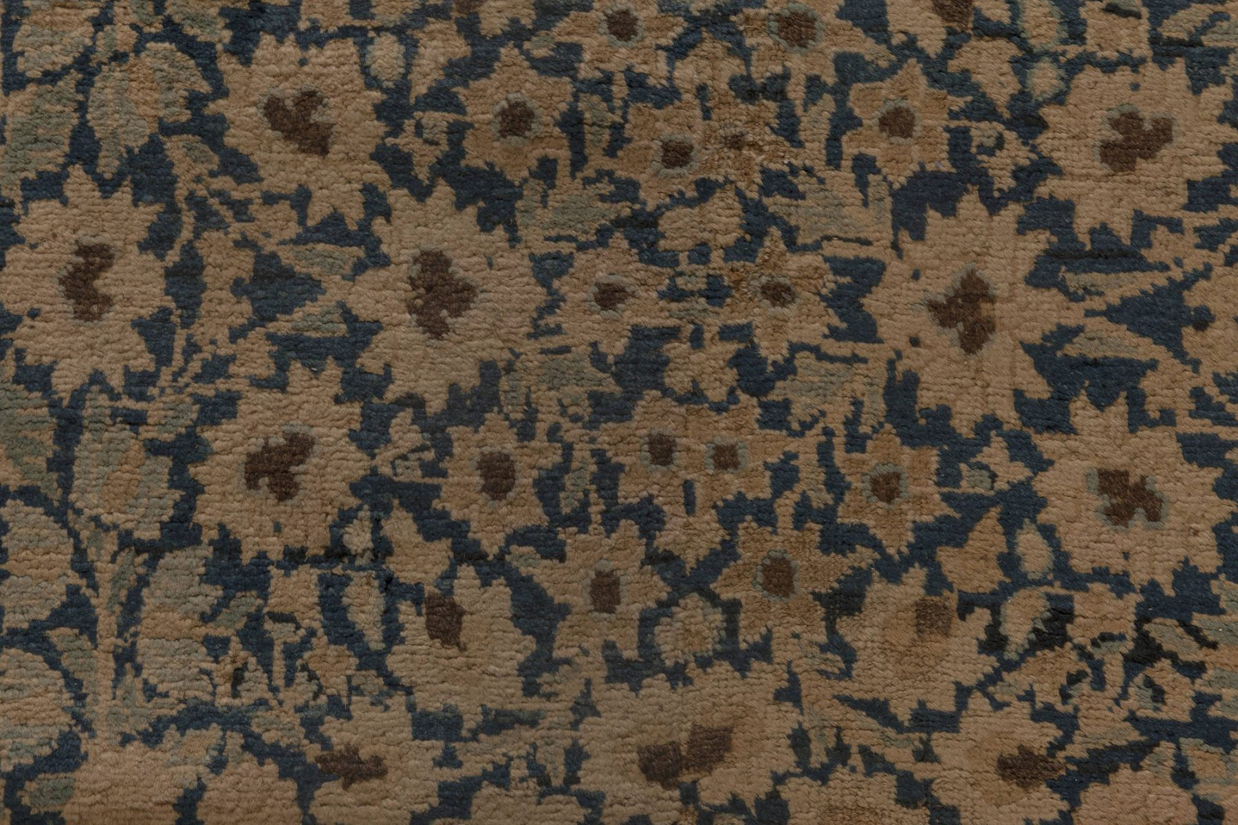 Kirman Indigo Blue, Beige & Brown Handwoven Wool Runner BB6915