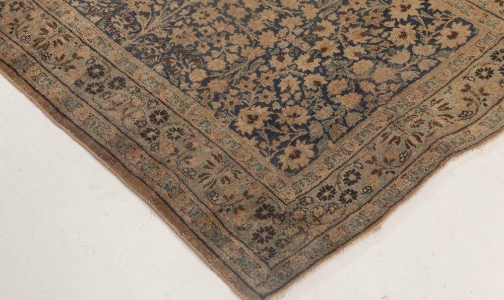 Antique Persian Kirman Indigo Blue, Beige & Brown Runner BB6915