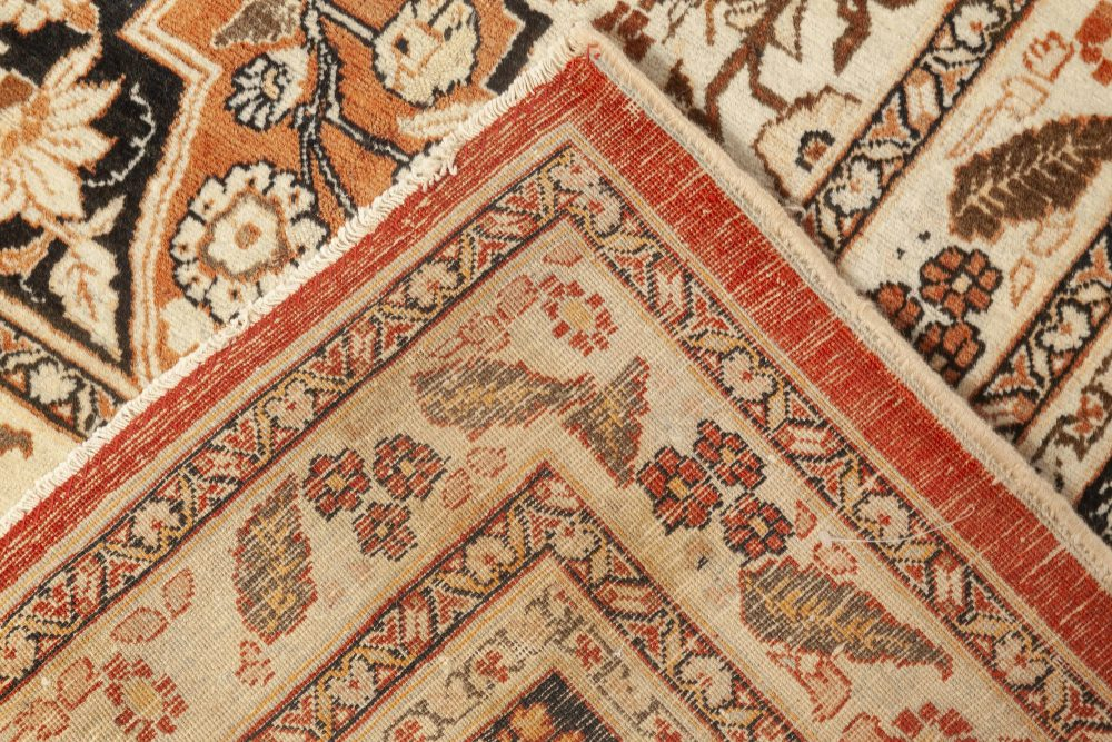 Antique Persian Tabriz Floral Beige, Blue and Brown Handwoven Wool Rug BB6917