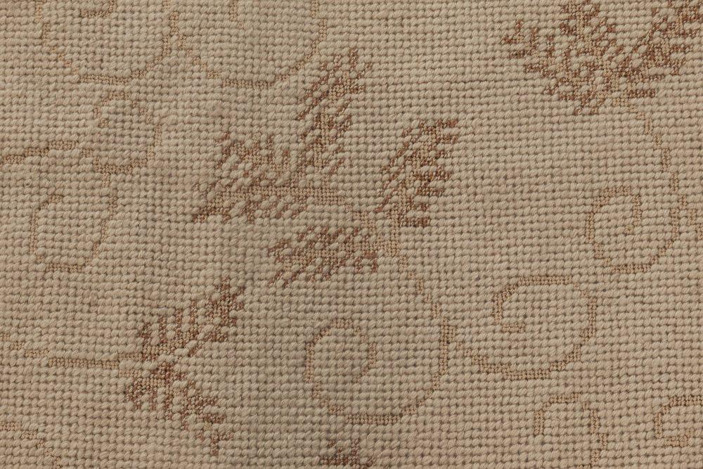Floral Design Needlepoint Eric Cohler Rug in Beige Shades N11884