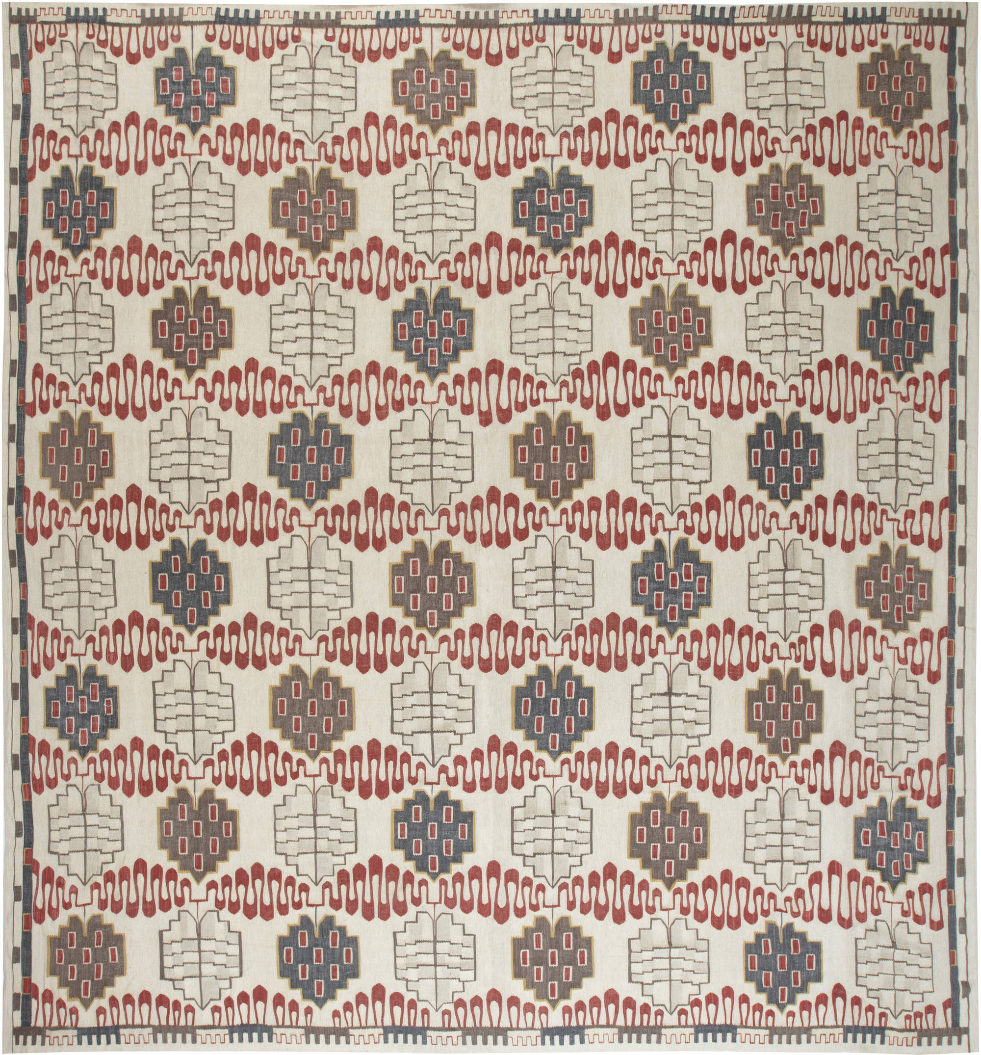 Swedish Design Hazel Geometric Handwoven Wool Rug N11876