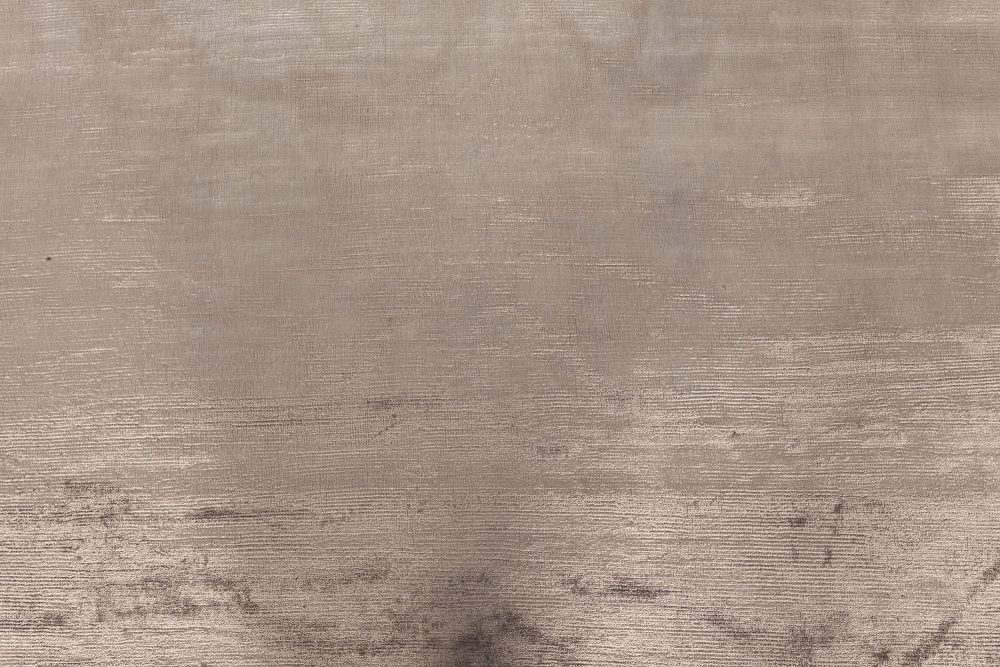 Contemporary Steel Gray and Taupe Hand Knotted Silk Rug N11927