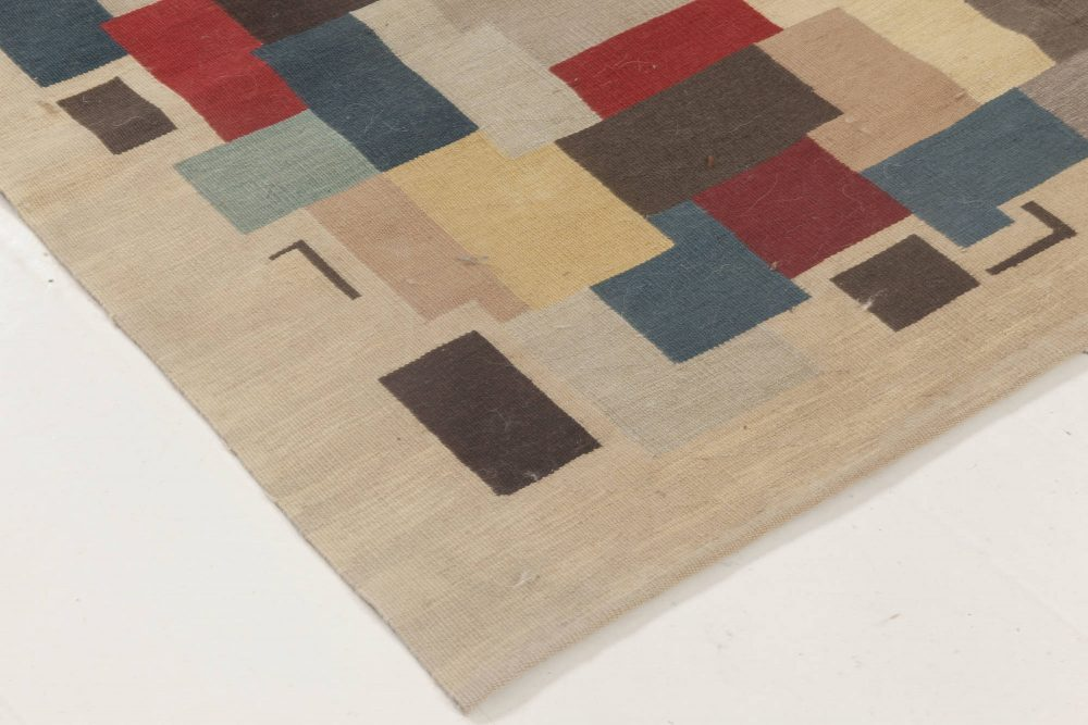 Contemporary Colorful Aubusson Design Handwoven Wool Rug N11889