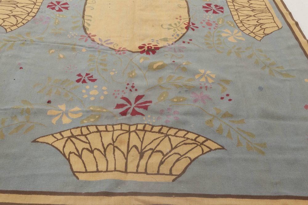 Abusson Botanic Blue, Brown, Pink & Yellow Wool Rug by Thomas Jayne N11891