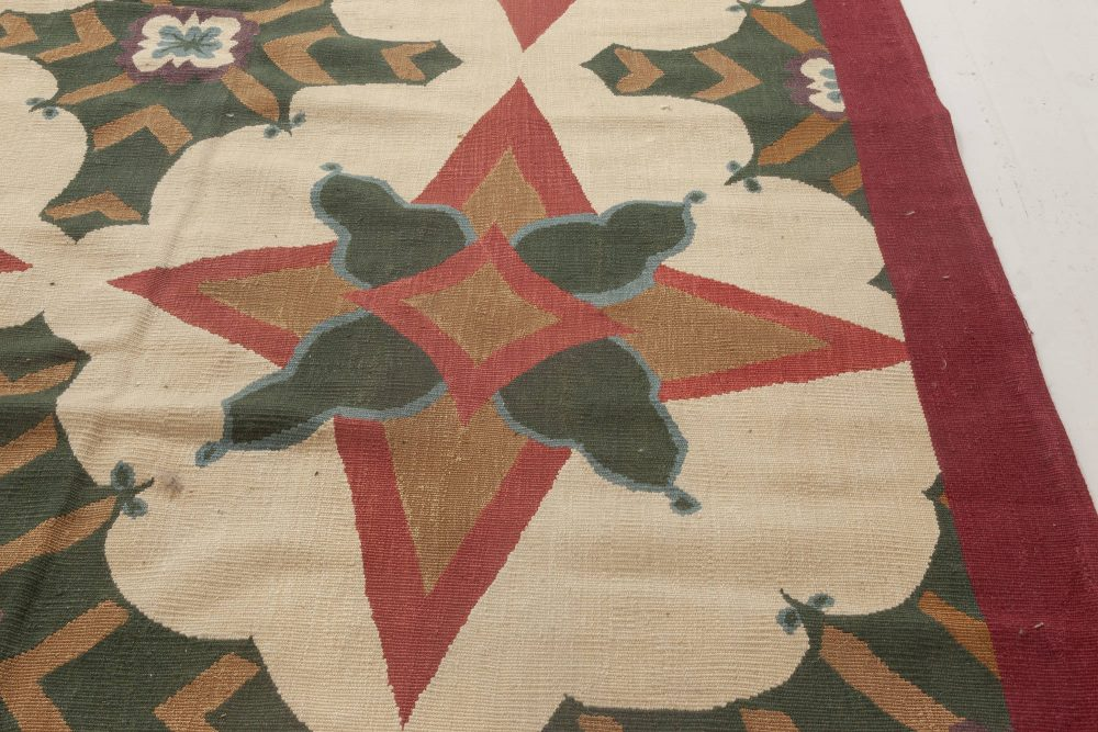New Aubusson Brown, Green& Red Rug by Richard Keith Langham N11892
