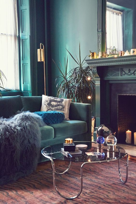trendy color green interior decor (1)