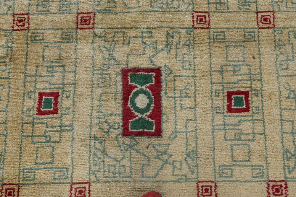 French Vintage Paule Leleu Warm Beige, Burgundy & Green Hand-knotted Rug BB6911