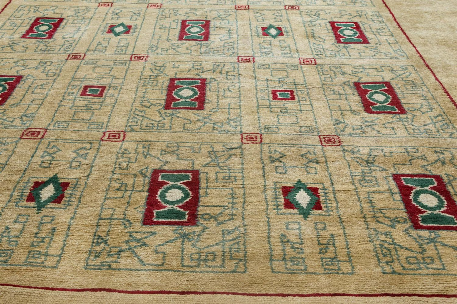 French Paule Leleu Beige, Green and Burgundy Hand Knotted Wool Rug BB6914