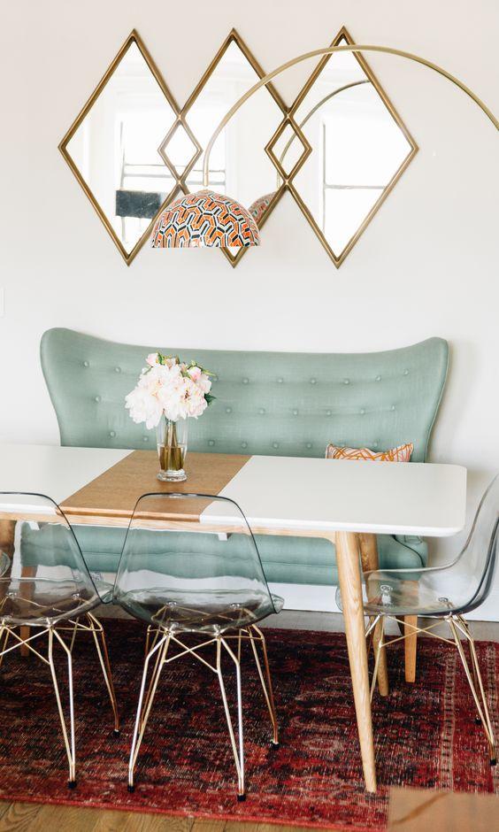 statement wall, mirror wall, dinign room decor ideas