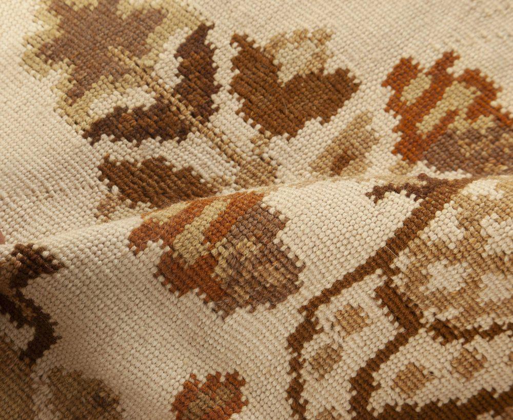 Bessarabian Design Wool Rug in White, Beige and Brown N11917