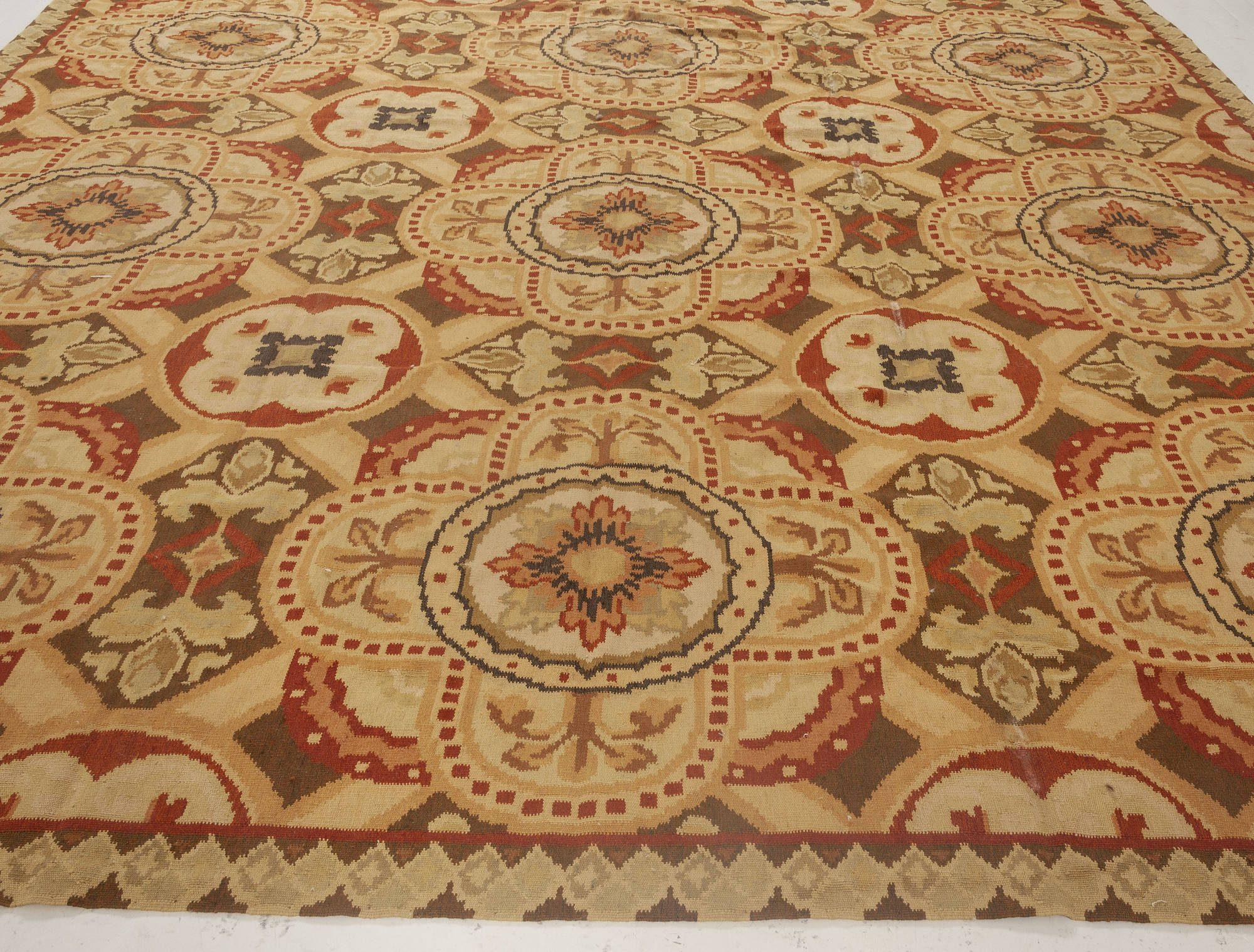 Bessarabian Inspired Design Black, Brown, Red & White Wool Rug N11883