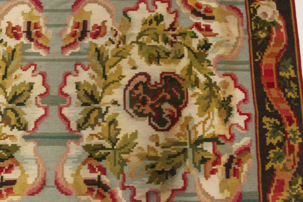Bessarabian Design Green and Fuchsia, Beige and Brown Wool Rug N11919