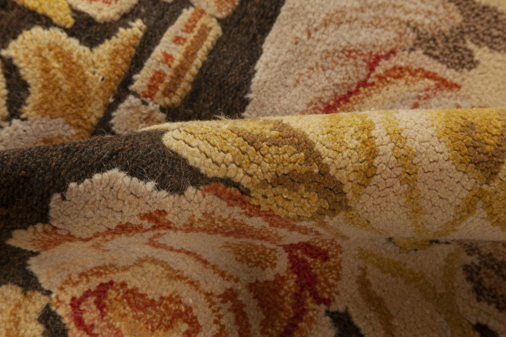 High and Low Bessarabian Black, Brown, Gold, Pink and White Rug N11915