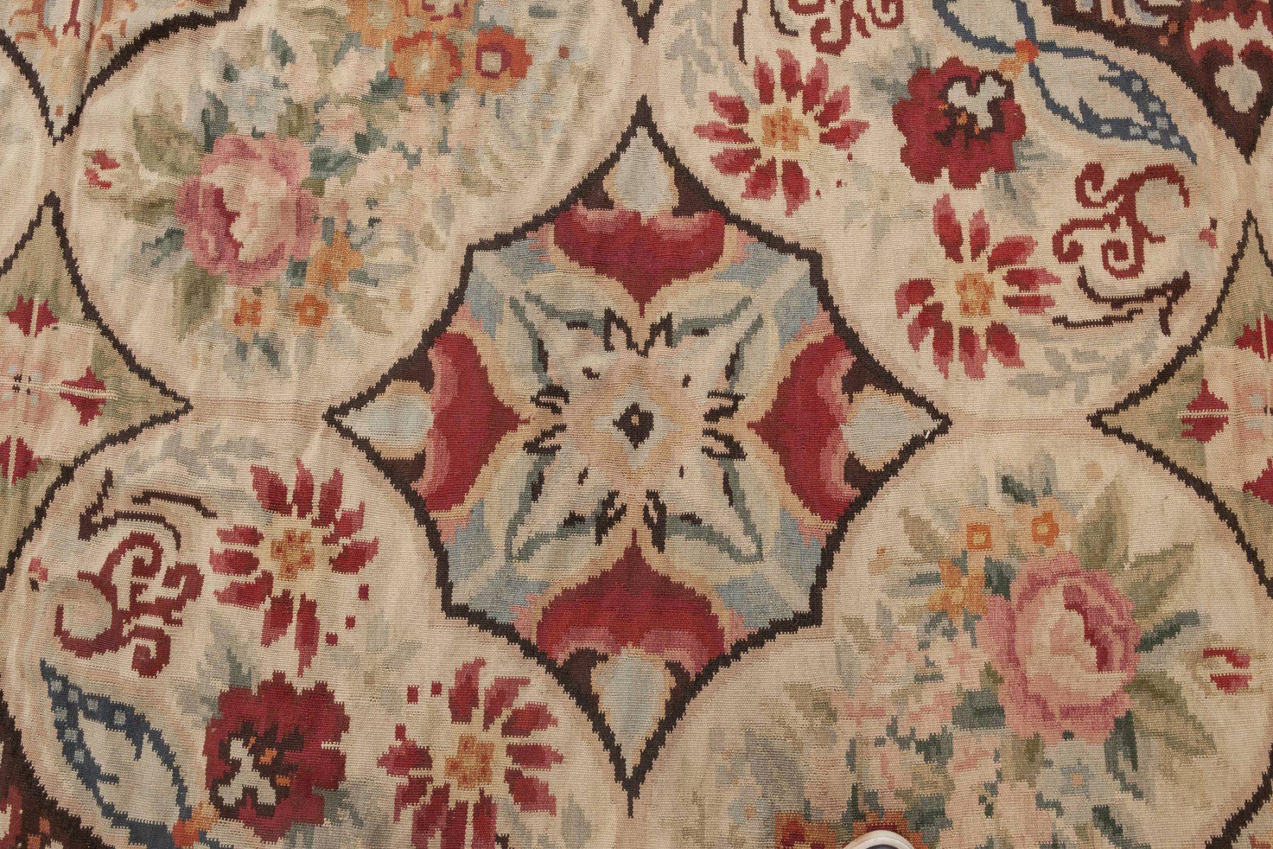 Bessarabian Design Blue, Brown, Green, Pink and Red Wool Rug N11902