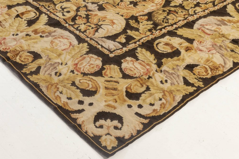 Bessarabian Floral Flat Weave Rug in Black, Gold, Pink, and White N11900