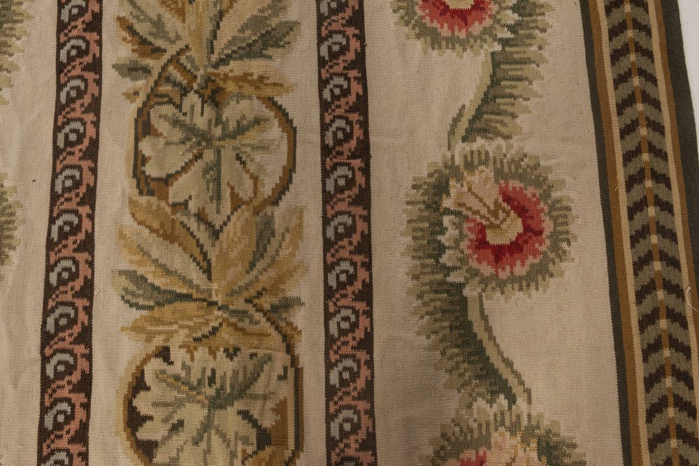 New Bessarabian Floral Brown, Green, Red and White Flat Weave Wool Rug N11893