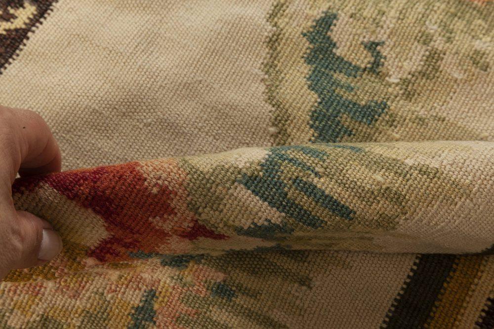 New Bessarabian Design Floral Beige, Gold, Green & Red Wool Rug N11916