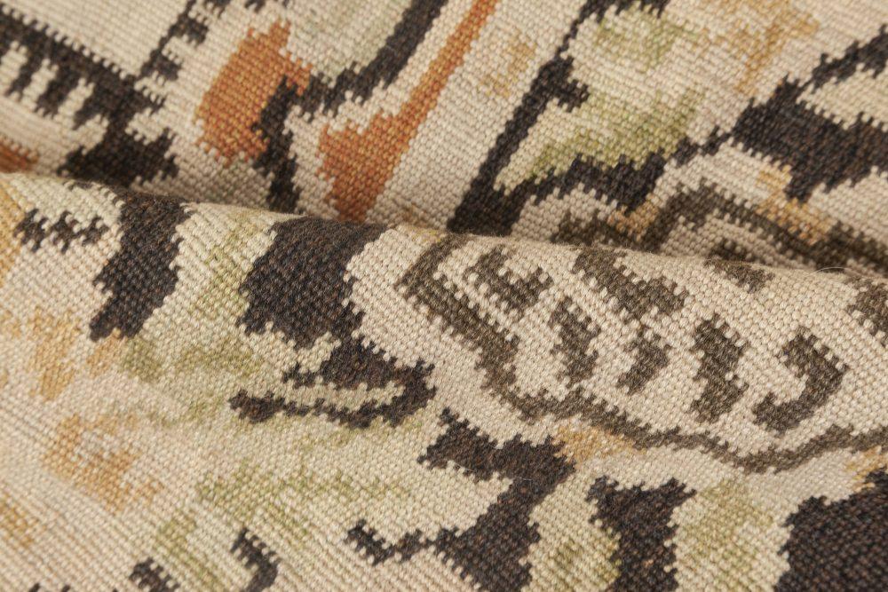 Bassarabian Rug in Beige, Black, Green and Pink Botanic Design N11898