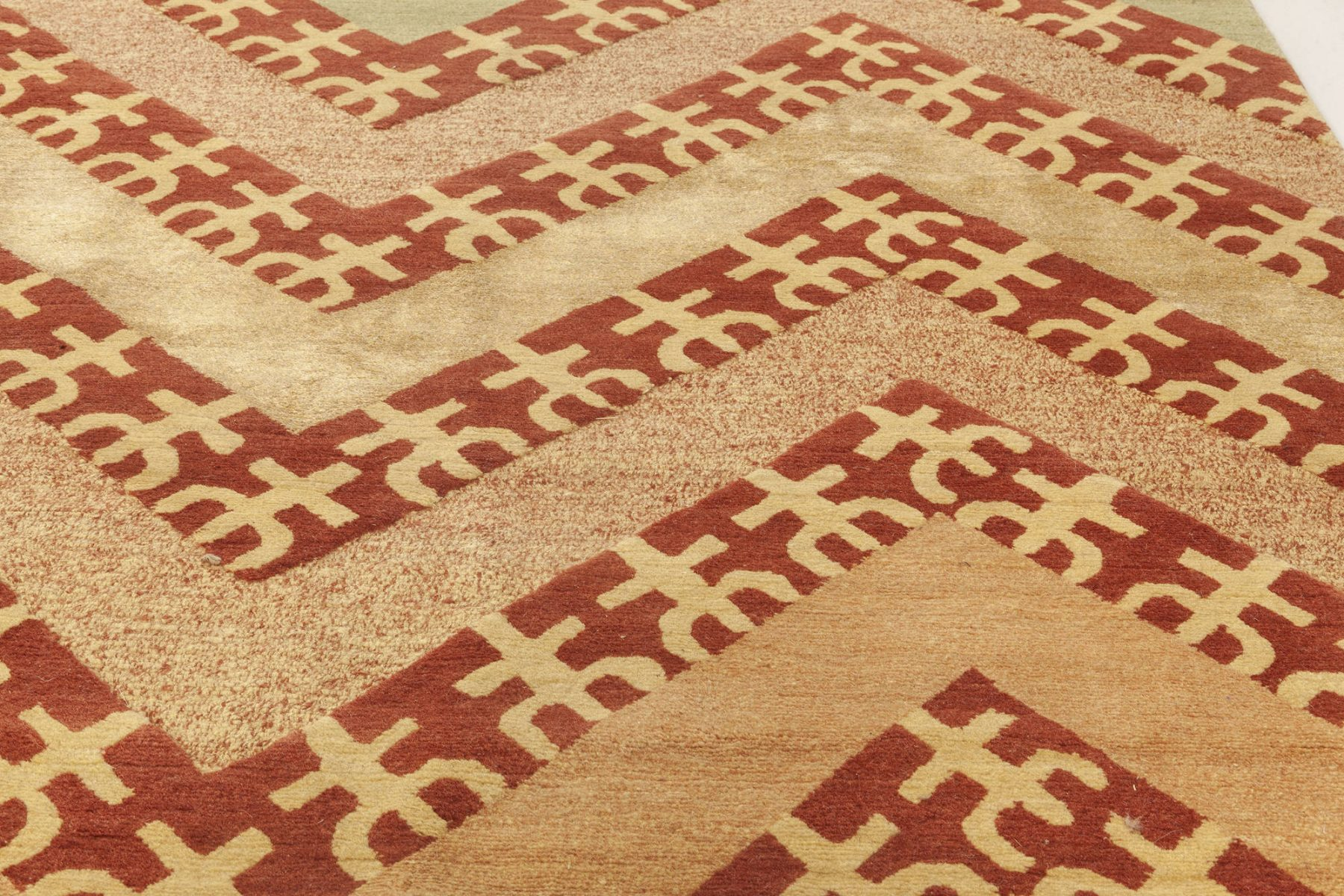 Tribal Geometric Salmon, Red, Firebrick & Sandy Beige with Mint Rug N11914