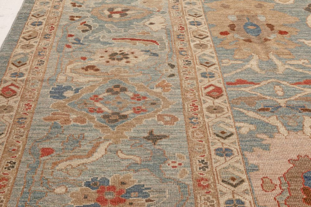 Traditional Sultanabad Design Blue, Brown, Red and White Wool Rug N11877