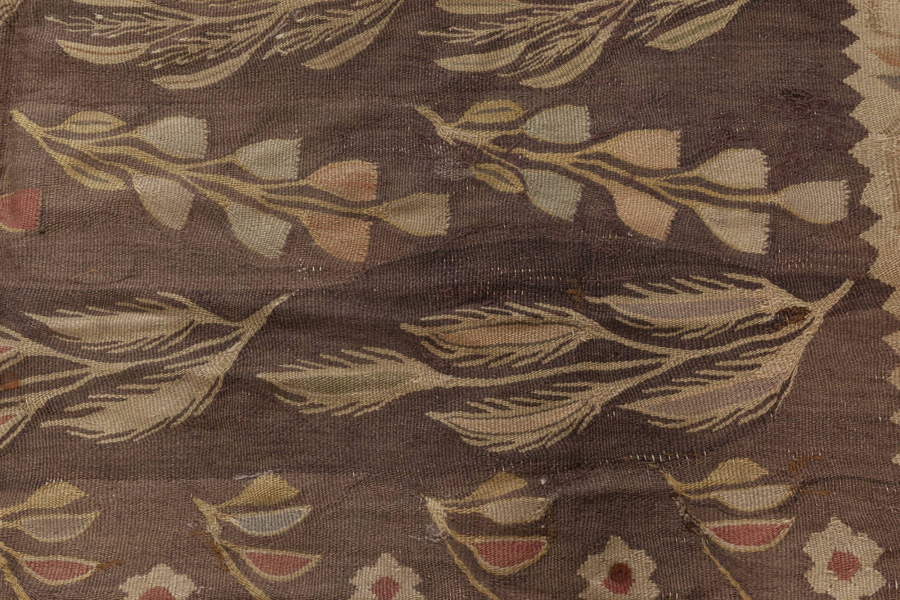 Antique Bessarabian Burgundy, Brown and Beige Handwoven Wool Rug BB6919