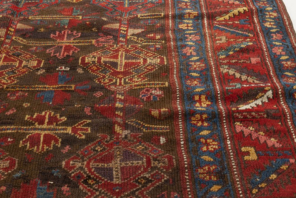 1900s Persian Malayer Geometric Rug in Red, Blue, Yellow and Black BB6929