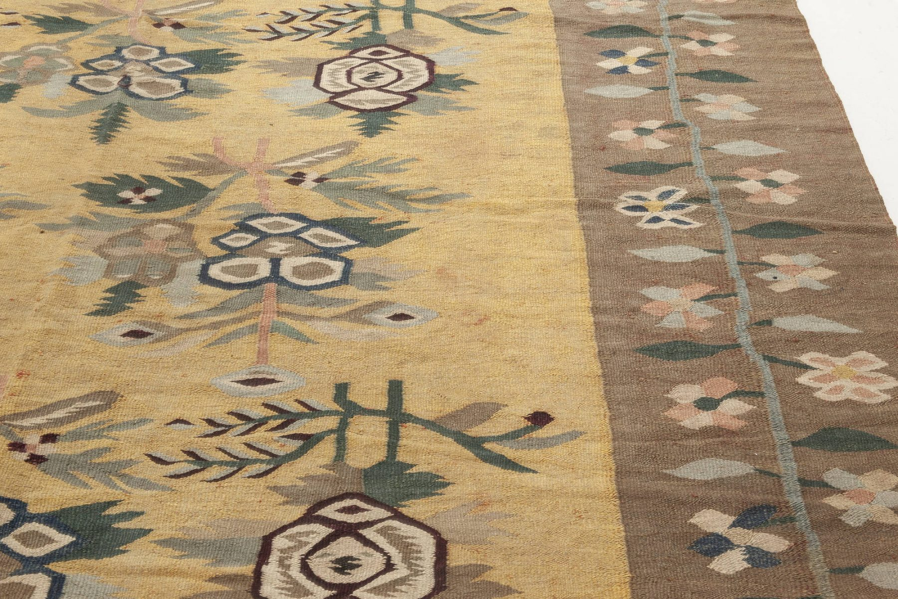 Antique Bessarabian Floral Brown, Green, Pink and Yellow Rug BB6936
