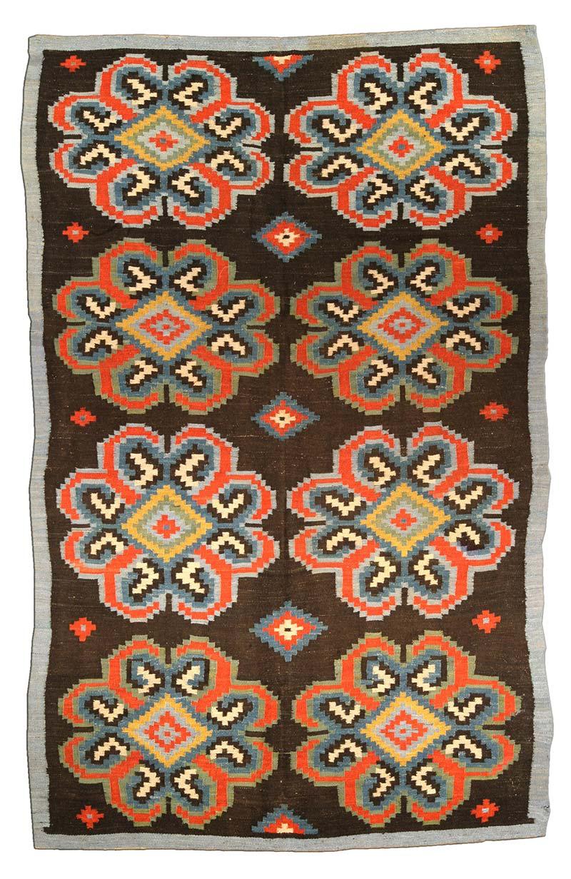antique-carpet-russian-bessarabian-ukrainian-brown-geometric-bb4438-9×5