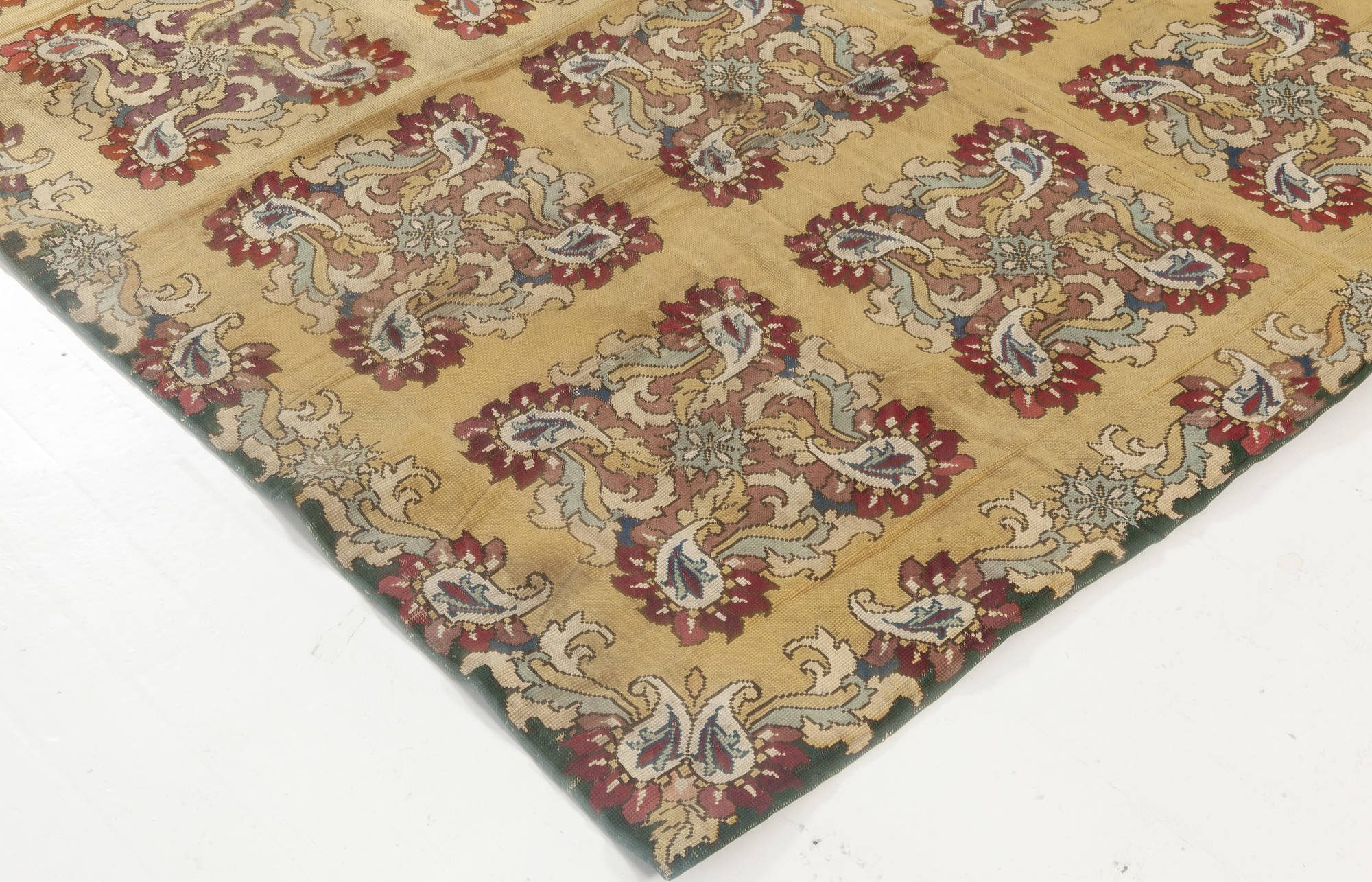 Antique English Floral Blue, Green, Red and Yellow Needlepoint Rug BB6938