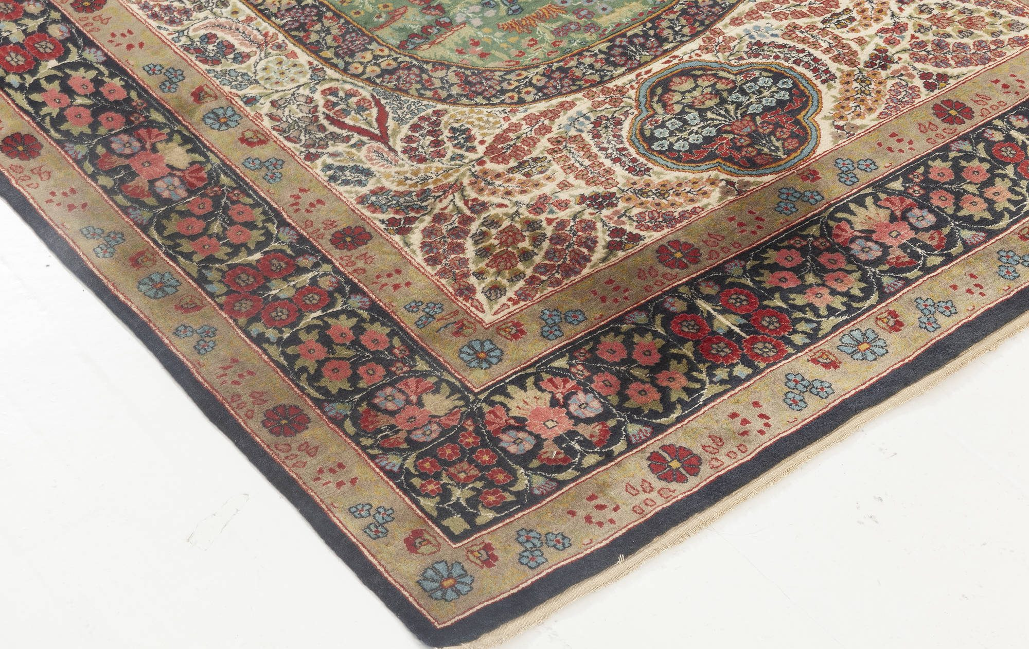 Kirman Floral  Blue, Green, Pink, Red & White Handwoven Wool Rug BB6931