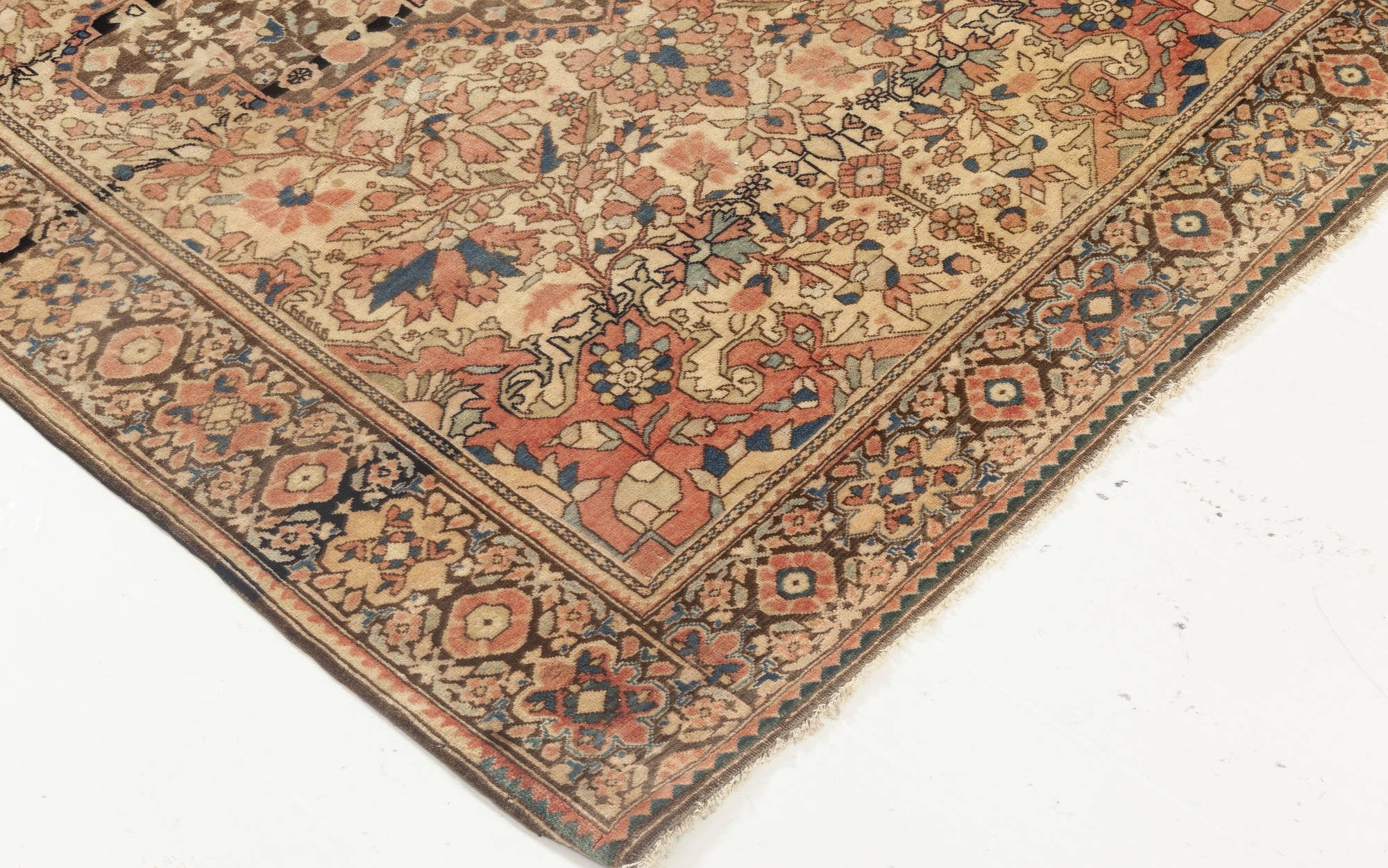 Antique Persian Tabriz Brown, Pink and Red Handwoven Wool Rug BB6928