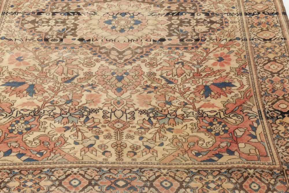 Antique Persian Sarouk Brown, Pink and Red Handwoven Wool Rug BB6928