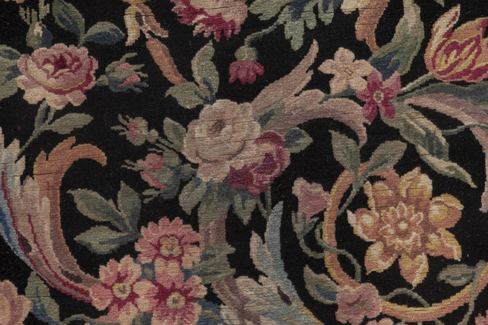 Antique Savonnerie Floral Handwoven Wool Rug (Size Adjusted) BB6937