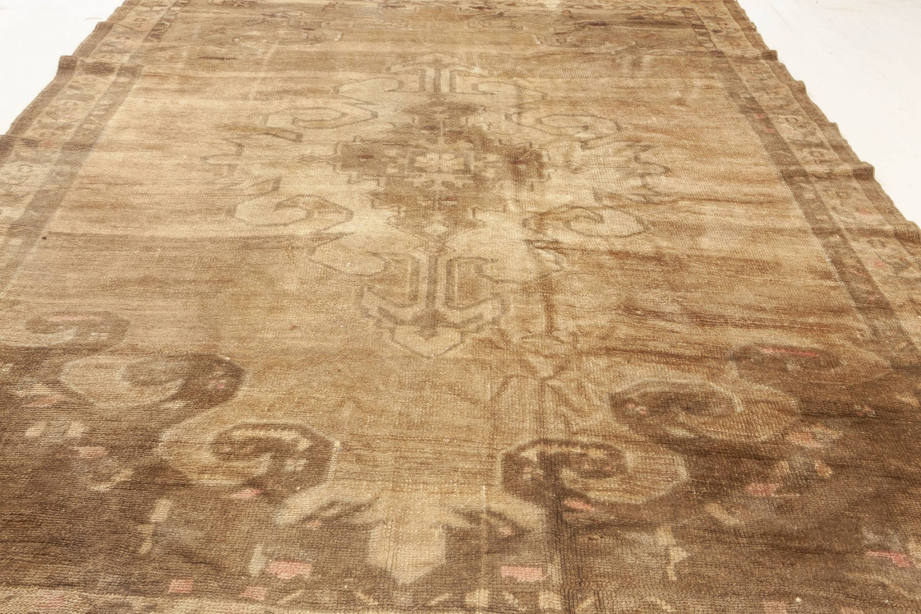 Turkish Hand Knotted Wool Rug in Beige and Brown BB6922