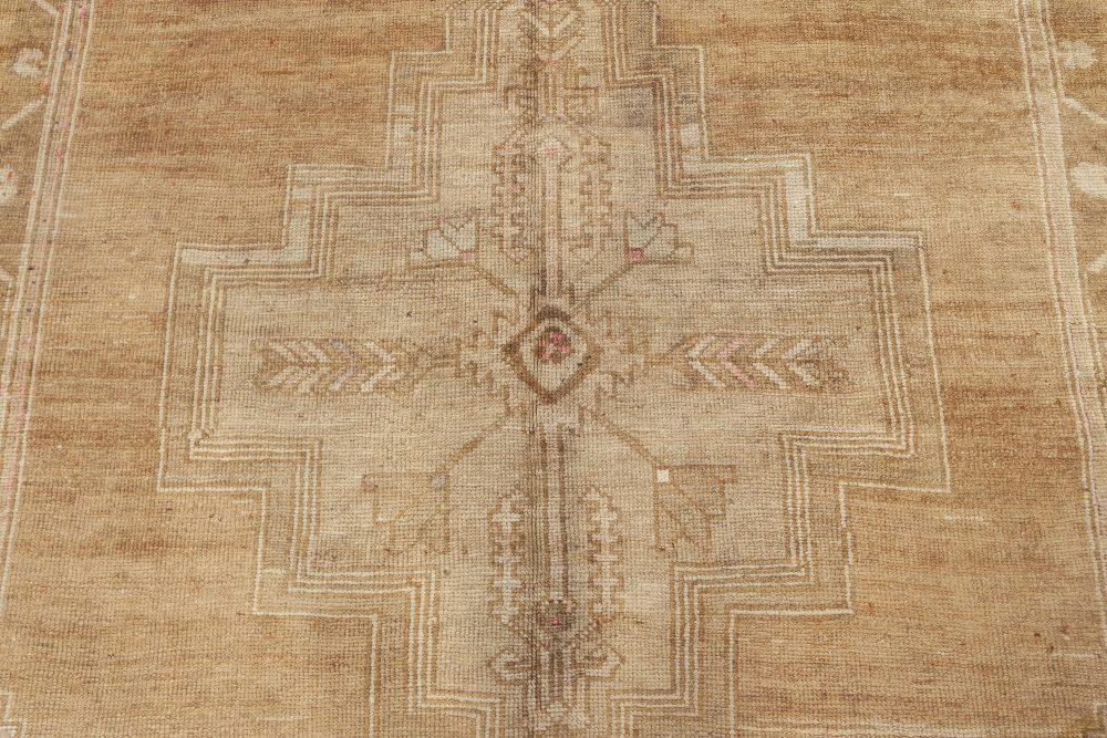 Midcentury Antique Turkish Oushak Brown Handwoven Wool Rug BB6932